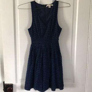 Francesca's Navy Blue Eyelet Dress XXS